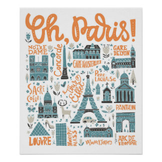 Oh, Paris! | Stadttypographie Poster
