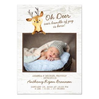 Oh Rotwild-Baby-Jungen-Foto-Geburts-Mitteilung Karte