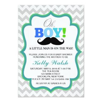 Oh Schnurrbart-Baby-Duschen-Einladungen Zickzack 12,7 X 17,8 Cm Einladungskarte
