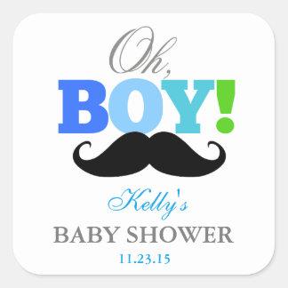 Oh Schnurrbart-Baby-Duschen-Gastgeschenk-Aufkleber Quadrat-Aufkleber