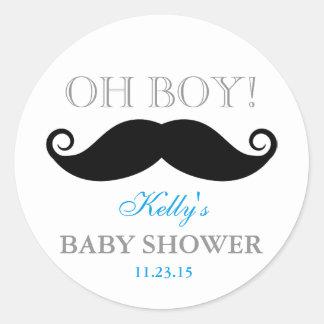 Oh Schnurrbart-Baby-Duschen-Gastgeschenk-Aufkleber Runder Aufkleber