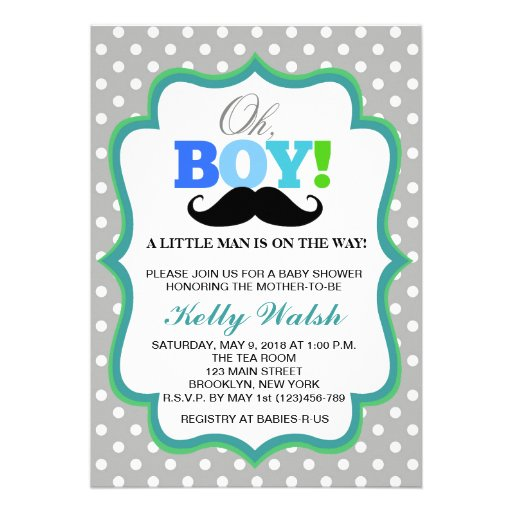 Oh Schnurrbart-Babyparty-Einladungs-Tupfen Individuelle Einladungen