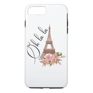 Oh Turm des La-La-| Eiffel mit Blumen-Illustration iPhone 8 Plus/7 Plus Hülle