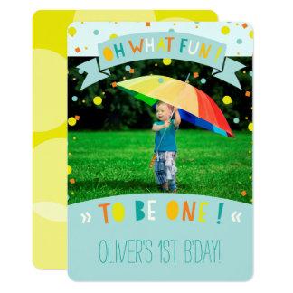 Oh, welches Spaßconfetti-erste Geburtstags-Party Karte