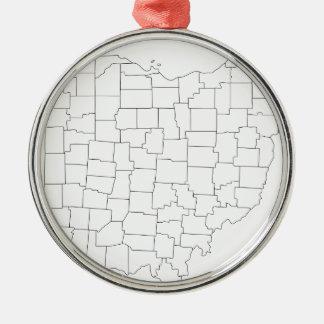Ohio-Landkreise Silbernes Ornament