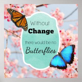 Ohne Änderung keine Schmetterlings-Kirschblüten Poster