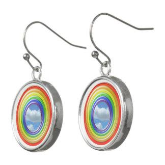 Ohrring - Kreisregenbogen und Wolken Ohrringe