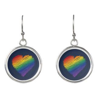 Ohrringe des Regenbogen-Gekritzel-Herzens dangly