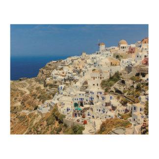 Oia-Dorf auf Santorini Insel, Nord, Griechenland Holzleinwände