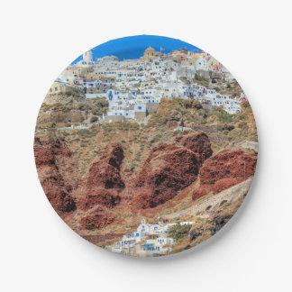 Oia-Dorf auf Santorini Insel, Nord, Griechenland Pappteller