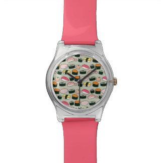 Oishii Sushi-Spaß-Illustrations-Muster (grau) Armbanduhr