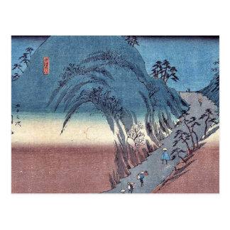 Okabe durch Ando, Hiroshige Ukiyoe Postkarte