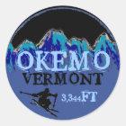 Okemo Vermont blaue Skikunst-Aufzugaufkleber Runder Aufkleber