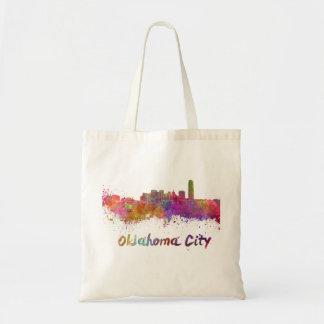 Oklahoma City skyline im Watercolor Tragetasche