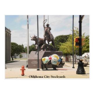 Oklahoma- Cityviehhöfe Büffel und Cowboy Postkarte