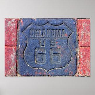 Oklahoma-Plasterungs-Stein des Weg-66 Poster