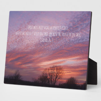 Oklahoma-Sonnenuntergang mit Bäumen und Bibel-Vers Fotoplatte