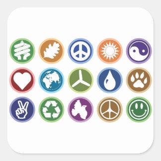 Öko-Symbole Quadrat-Aufkleber