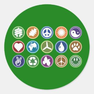 Öko-Symbole Runder Aufkleber