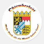 Oktemberfest MIT bayrischem Wappen Runder Sticker