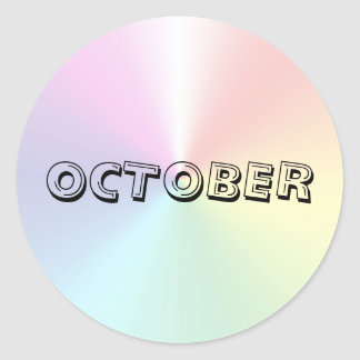 Oktober-Alphabet-Suppen-Schimmer-Aufkleber durch Runder Aufkleber