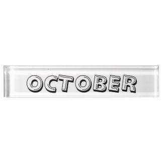 Oktober-Alphabet-Suppen-Schreibtisch-Nummernschild