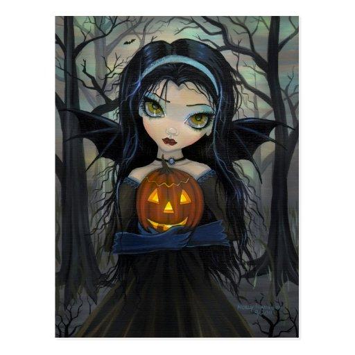 Oktober-Holz-gotische Vampirs-Halloween-Postkarte