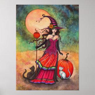 Oktober-Mond-Hexe-Katzen-Halloween-Illustration Poster