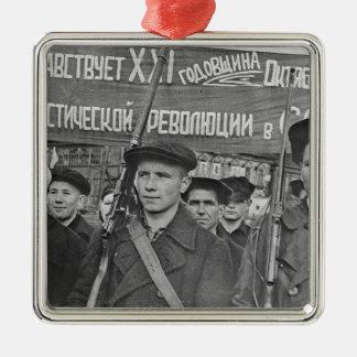 Oktober-Revolution Quadratisches Silberfarbenes Ornament