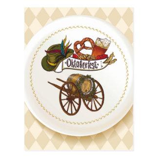 Oktoberfest Bier-Set auf einer weißen Platte Postkarte