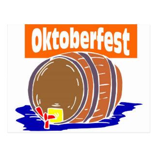 Oktoberfest Bierfaß Postkarte