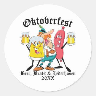 Oktoberfest Biergören u. Lederhosen Runder Aufkleber