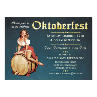 Oktoberfest Einladungen (Vintage) v.2 (blau)