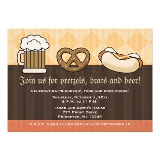 Oktoberfest Einladungs-Bier-Tassen-Brezel-Hotdog Individuelle Ankündigungskarte