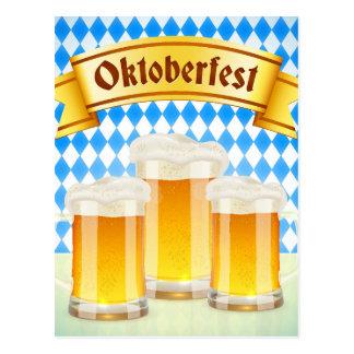 Oktoberfest Gruß-Karte mit Bier Postkarte