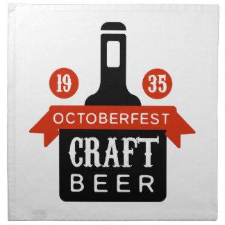Oktoberfest Handwerks-Bier-Logo-Entwurfs-Schablone Serviette