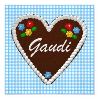 "Oktoberfest Herz ""Gaudi "" Quadratische 13,3 Cm Einladungskarte"