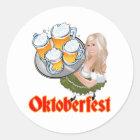 Oktoberfest Mädchen Runder Aufkleber