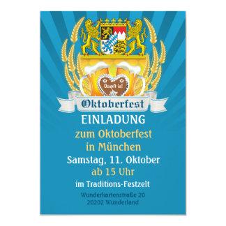 Oktoberfest mit den bayerischen Armen und Bier Personalisierte Einladungskarten