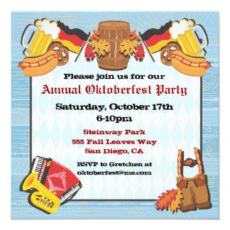 Oktoberfest Party Einladung auf altem hölzernem Quadratische 13,3 Cm Einladungskarte