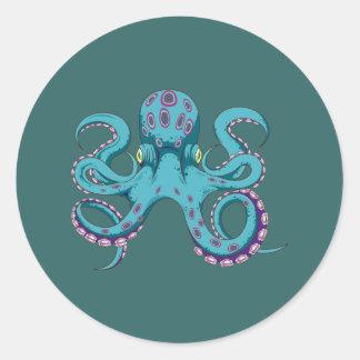Oktopus Krake octopus kraken Runder Aufkleber