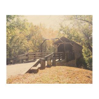 Ol hölzerne Brücke Holzleinwand