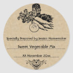 Old Fashioned Vegetable Canning Template Round Stickers