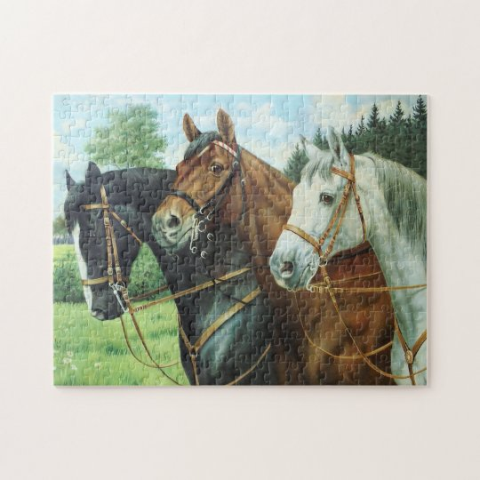 Old German Horse Oil Painting Portrait from 1924 Puzzle