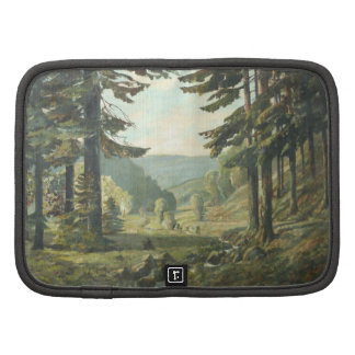 Old German Oil Painting – Forest Erzgebirge 1905 Mappe
