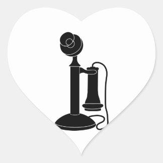 Old-Telefone-vt8 Herz-Aufkleber