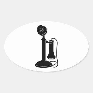 Old-Telefone-vt8 Ovaler Aufkleber