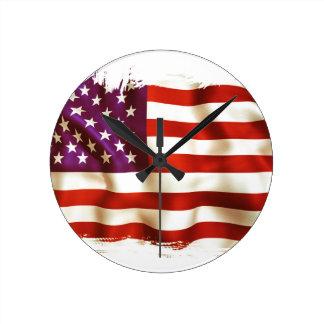 Old USA flag Runde Wanduhr