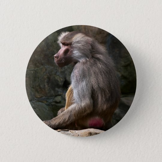 Olive Baboon Runder Button 5,1 Cm