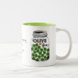 Olive Sie, Valentine, Jahrestag, Mamma-Tasse Zweifarbige Tasse